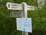 The signpost diverting walkers onto the new path.