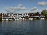 Some of the many boathouses along the Thames at Henley.