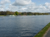 Boats moored along the long, straight Henley Reach.